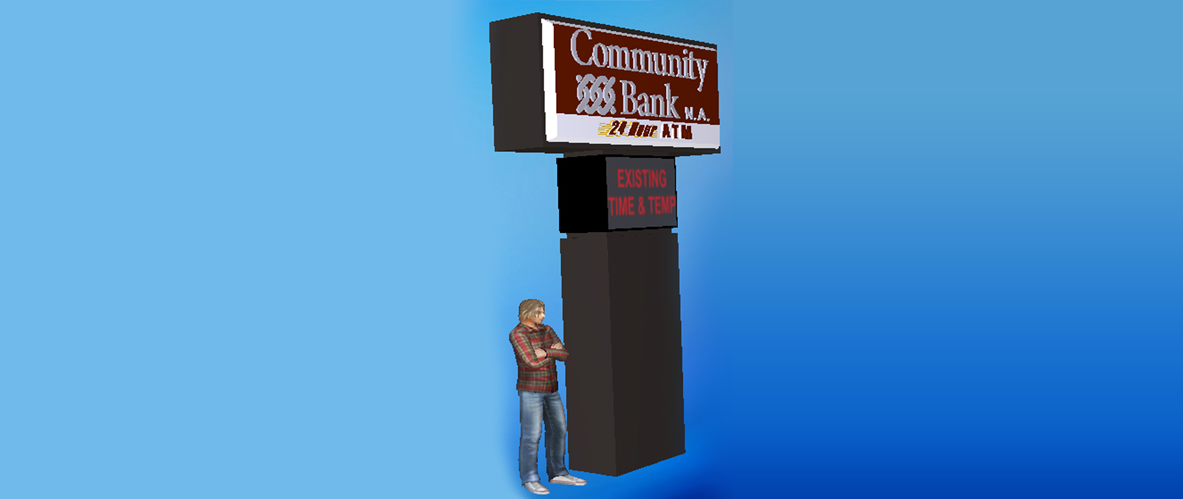 communitybank pylon sign rendering